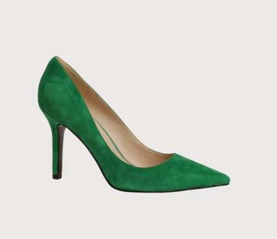 green suded pump